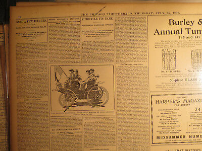 Auto Newspaper History 1895 DAIMLER MOTORCYCLE CAR + PETROLEUM BICYCLE