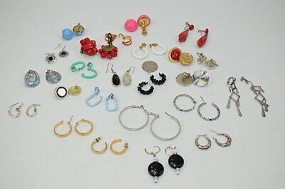 Lot Of 24 Vintage Costume Jewelry Earrings Clip On Screw On Tension Pierced Misc