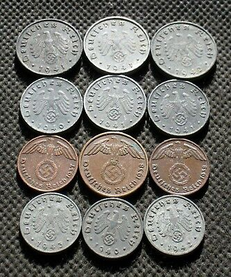 Authentic Old Coins Third Reich Germany With Swastika World War Ii - Mix 959