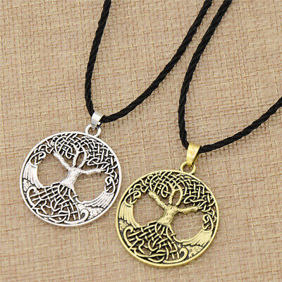 Viking Tree of Life Pendant Necklace Vintage Long Chain Jewelry Amulet Gift