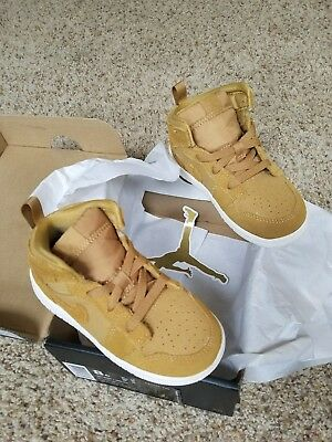New Nike Air Jordan 1 Mid BT Golden Harvest/Sail Toddler 640735-725 Size 8c