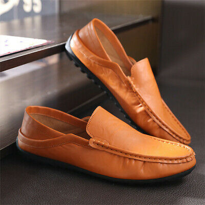 Summer Men Driving Casual Loafers Boat Shoes PU Leather Slip On Driving Moccasin