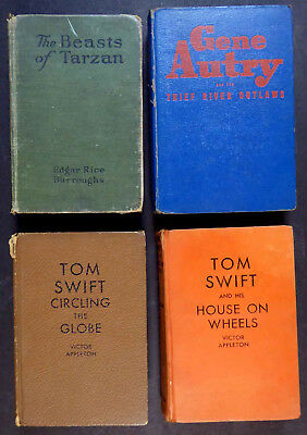 4 Vintage Hc Adventure Books: Tarzan 1916, Gene Autry 1944, Tom Swift 1927, '29