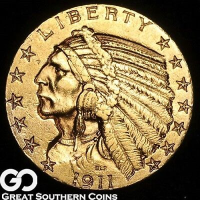 1911-S Half Eagle, $5 Gold Indian, Tough Choice Uncirculated+ Better Date!