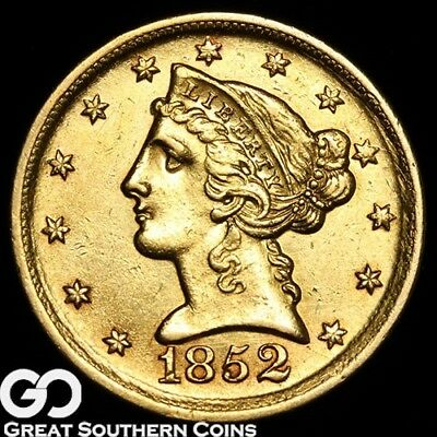 1852-D Half Eagle, $5 Gold Liberty, Highly Coveted RARE DAHLONEGA Key Date!