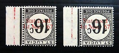 St LUCIA 1967 - 16c Postage Due Statehood RARE Inverted/OPT U/M SEE BELOW NJ540