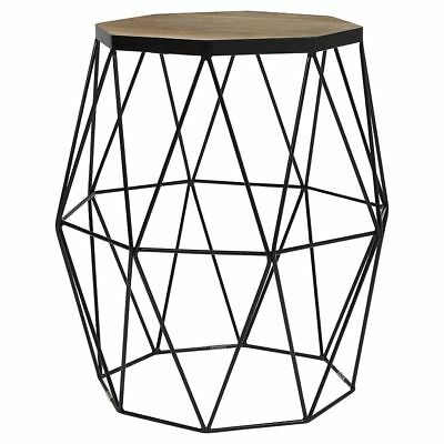 New Tesco Hexagonal Top Wire Frame Side Table Black Acacia Wood
