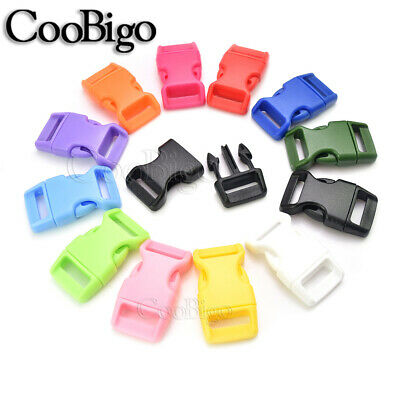 """5/8"""" Side Release Buckles Colorful Curved Paracord Bracelets Bags Pets Collar"""
