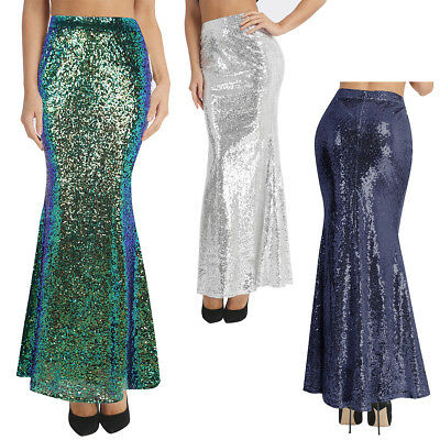 Womens Ladies Sequins Mermaid Skirt Long Maxi Skirts Fancy Party Evening Dress