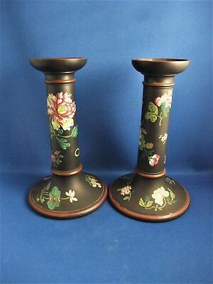 Antique Early 19Thc Pair Of  Wedgwood Black Basalt Candlesticks Chinese Flowers