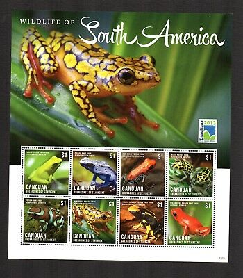 2013 GRENADINES OF St VINCENT CANOUAN Wildlife of South America Frogs m/sheets