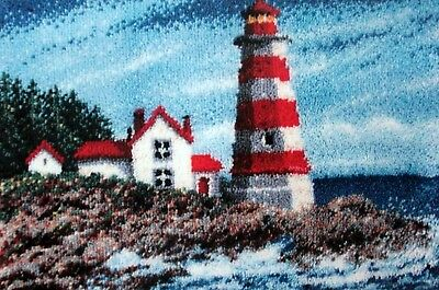 """Latch hook rug kit  A nautical scene  """"SENTINEL LIGHTHOUSE"""" BY CRAFTWAYS"""