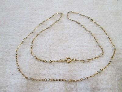 """Trifari Gold Tone Chain Necklace Tiny Faux Seed Pearl Accents~24"""""""