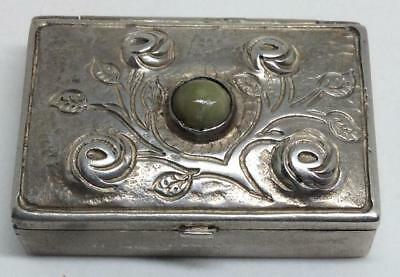 Antique solid Sterling Silver 925 Snuff Box agate jade Art Nouveau hand hammered