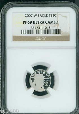 2007-W $10 PLATINUM EAGLE STATUE OF LIBERTY 1/10 Oz. NGC PR69 PROOF PF69 !!!