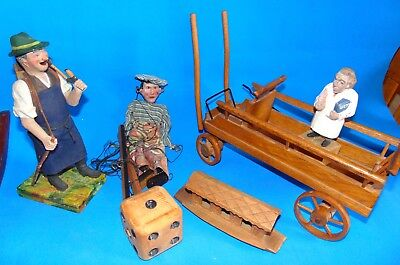 6 antique/vintage  wooden WOOD carved /handmade primitive FOLK ART figures lot
