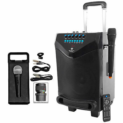 "Rockville 8"" Portable YouTube Bluetooth Karaoke Machine/System+(2) Microphones"