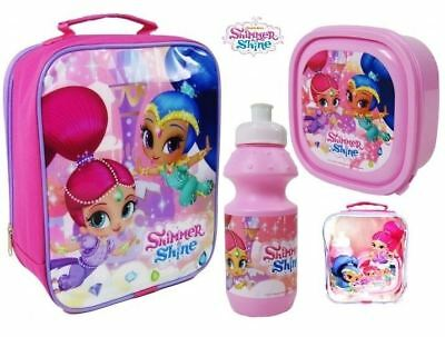 3pc Shimmer And Shine Insulated Lunch Bag Bottle Sandwich Box Girls School Set