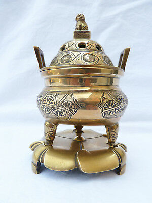 Antique Chinese Xuande Qing Polished Bronze Censer & Stand with NO RESERVE.