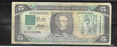 Liberia #19 1989 5 Dollars Vg Circulated Banknote Paper Money Currency Bill Note