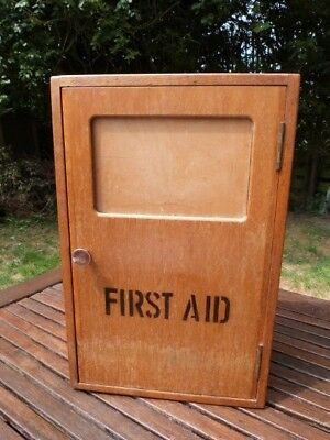 Rare Vintage Mid Century Military Air Corp Wooden First Aid Cabinet By Remploy.