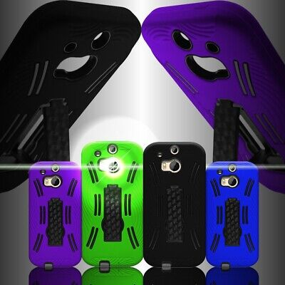 For HTC One (M8) / M8 for Windows - Rugged Kickstand Hybrid Phone Cover Case