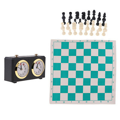 Chess Game Set Wind-up Count Up Down Timer Clock Chess Pieces Board with Bag