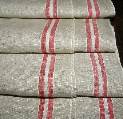 """MINT Linen Mangle Cloth Tablecloth Runner Two Red Stripes 32"""" x 102""""  M6"""
