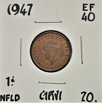 1947 Newfoundland One Cent EF-40