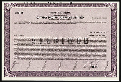 Hong Kong, Cathay Pacific Airways Ltd 1989 Specimen ADR Stock Certificate XF ABN