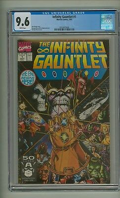 Infinity Gauntlet #1 (CGC 9.6) White pages; Thanos; Avengers; Starlin (c#20007)