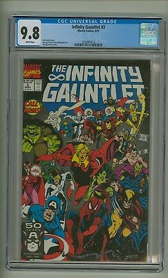 Infinity Gauntlet #3 (CGC 9.8) White pages; Thanos; Avengers; Starlin (c#20011)