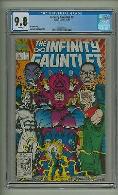 Infinity Gauntlet #5 (CGC 9.8) White pages; Thanos; Avengers; Starlin (c#20015)