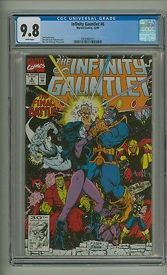 Infinity Gauntlet #6 (CGC 9.8) White pages; Thanos; Avengers; Starlin (c#20017)