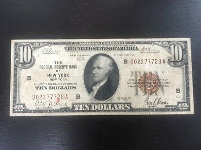 Series of 1929 $10 National Currency FRB New York, New York - US Note