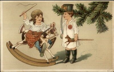 Christmas - Children New Toys Rocking Horse c1910 Postcard