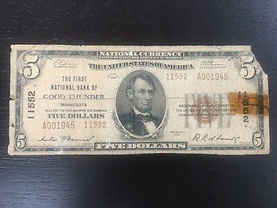 Series of 1929 $5 National Currency First National Bank of Good Thunder, MN