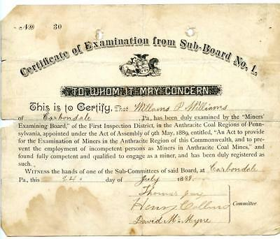 1889 Anthracite Coal Miner Certificate of Competency Carbondale Pennsylvania #6