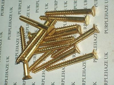 TRADITIONAL SOLID BRASS No 10 x 2 COUNTERSUNK SLOTTED WOOD SCREWS FREE UK POST