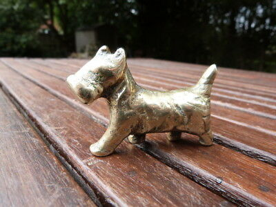 Lovely Small Antique Vintage Solid Brass Figurine Of Dog Scottie? Paperweight.