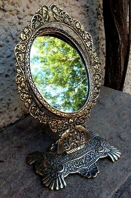 1900's Antique Hand Crafted Brass Peacock Dressing Table Oval Shape Mirror Frame
