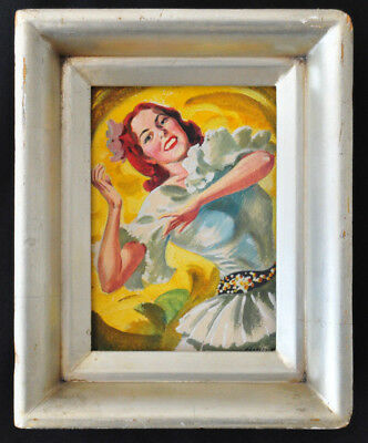 VTG Charles Ropp 1941 Pin Up Girl Dancer Watercolor Painting