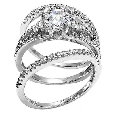 1df9b3db229 925 Sterling Silver 1.75 Carat CZ Engagement Ring Double Wedding Band Set