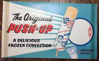 c. 1950 PUSH-UP Popsicle ICE CREAM Advertising Paper Sign Vintage