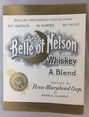 1930s MOON Crescent BELLE f NELSON WHISKEY Bottle Label PEORIA ILL Penn-Maryland