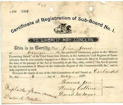 1891 Anthracite Coal Miner Certificate of Competency Carbondale Pennsylvania