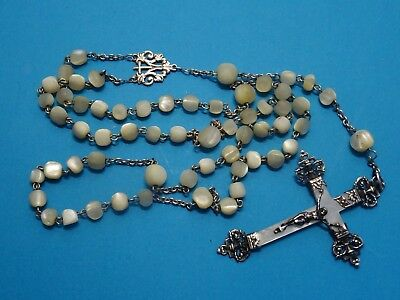 antique MOTHER OF PEARL rosary // large FILIGREE SILVER mop CRUCIFIX