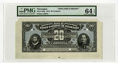 National Bank of Nicaragua 1912 Color Trial Proof 20 Cordobas P-59sp PMG 64EPQ