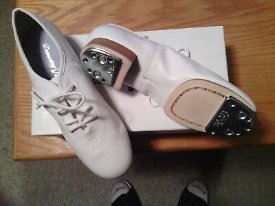 CLOGGING SHOES, NEW, ALL LEATHER, 9.5 ladies WHITE, SPLIT SOLE WITH BUCK TAPS