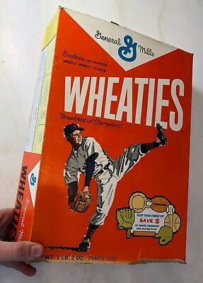 1960s WHEATIES Cereal BASEBALL Sports Equipment Box Vintage BREAKFAST CHAMPIONS